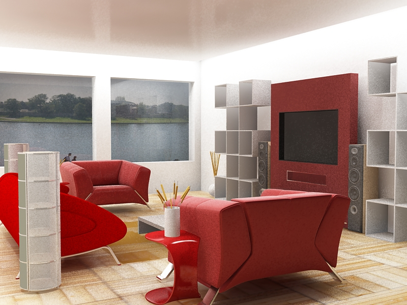 Red color is fit to make the living room attractive.