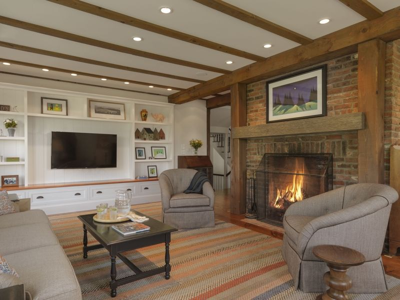use the fireplace to give the warm atmosphere.