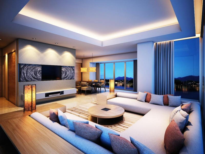 Use big windows in the living room.