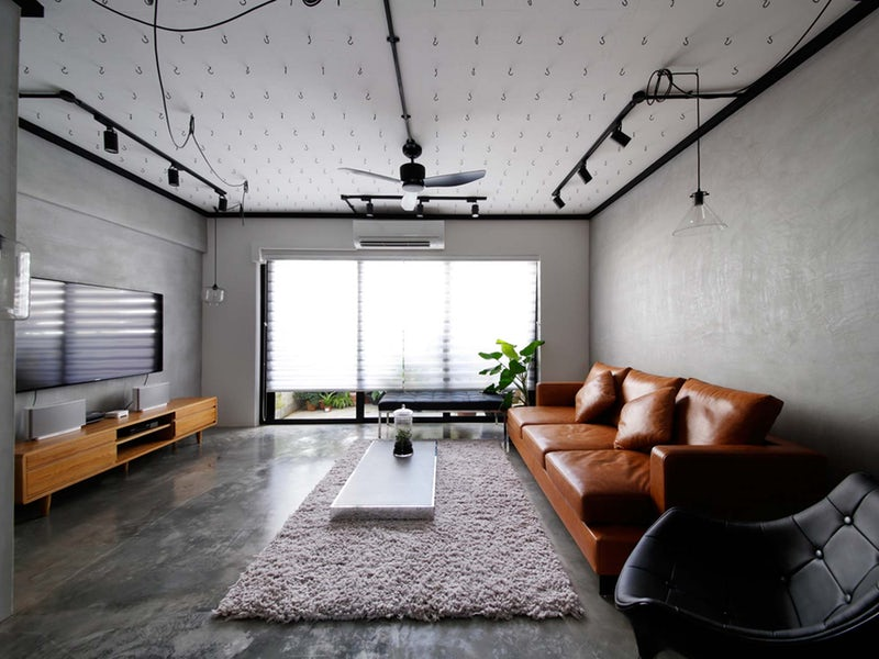 using an industrial lamp for the living room.