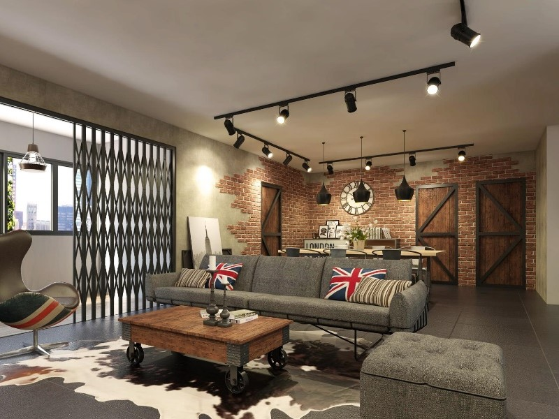 concrete floor is the characteristic of industrial style.