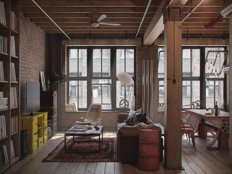 an open roof is one of the characteristics of industrial style.