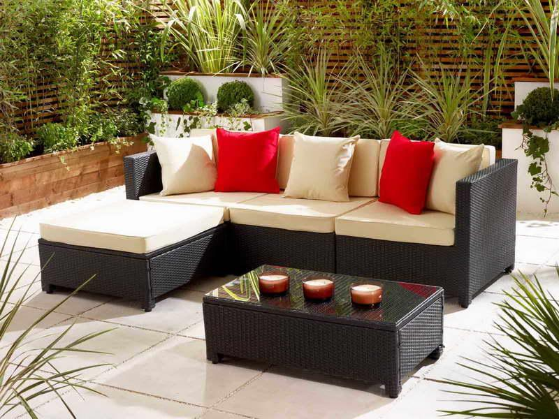 L-shaped couch for the garden.