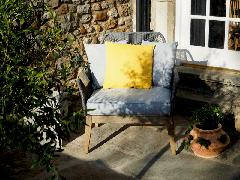 Mini couch in your small garden.