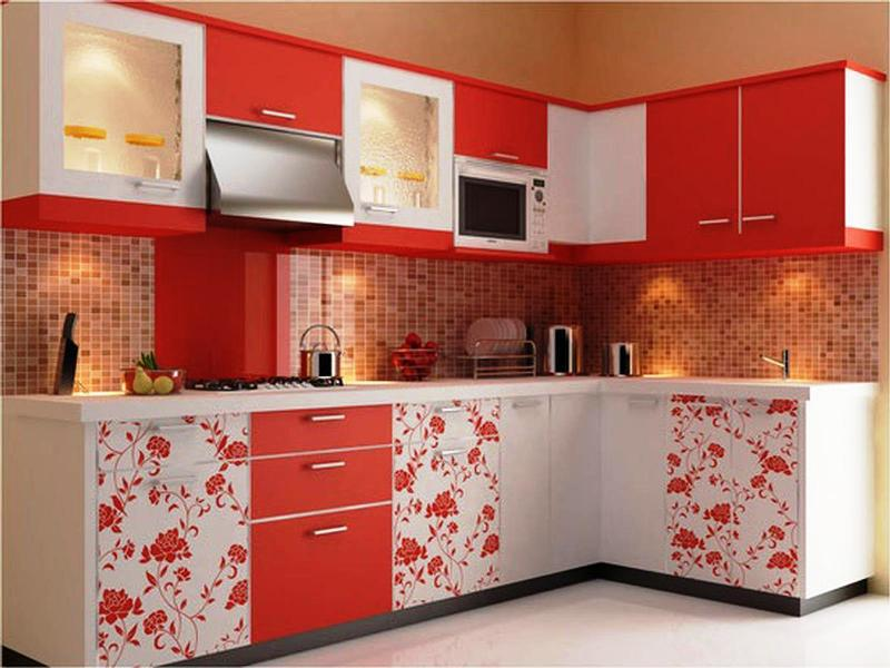 Red is good way to make the kitchen looks colorful.