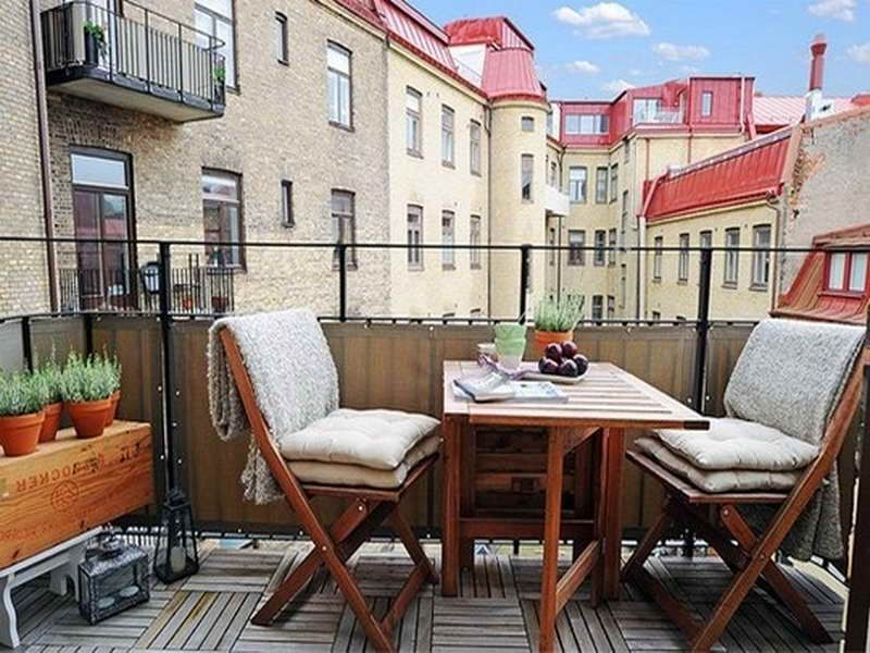 two chairs is perfect for narrow balcony.