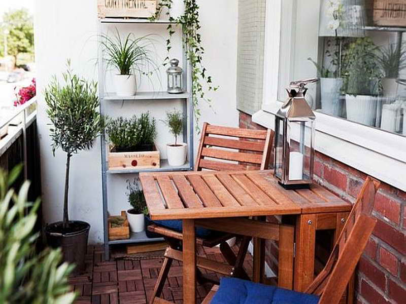 wooden chair is perfect for balcony.
