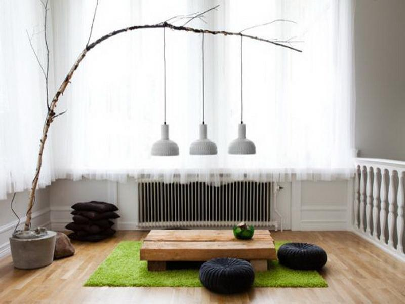 placing small pendant lamp at twigs.
