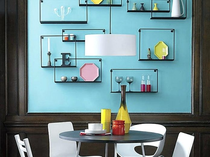 Modern floating shelves for beautifying the room.