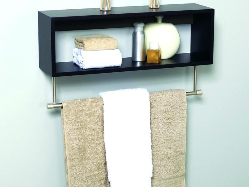 small floating shelves in the bathroom.