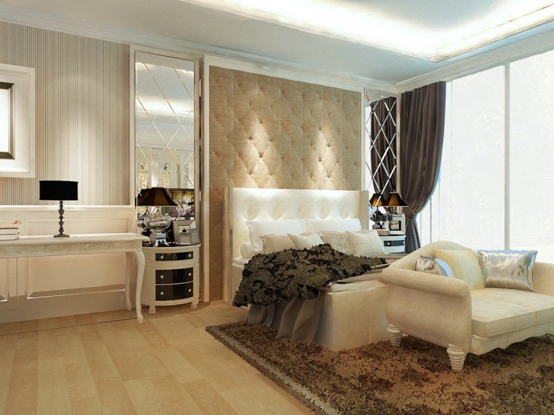 classic bedroom by using cream color.