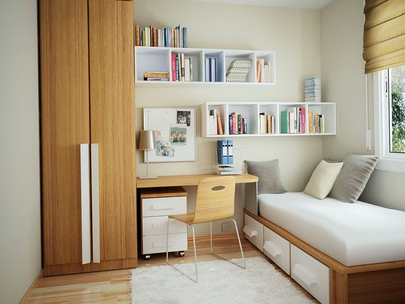 Using hanging shelves for the minimalist bedroom.