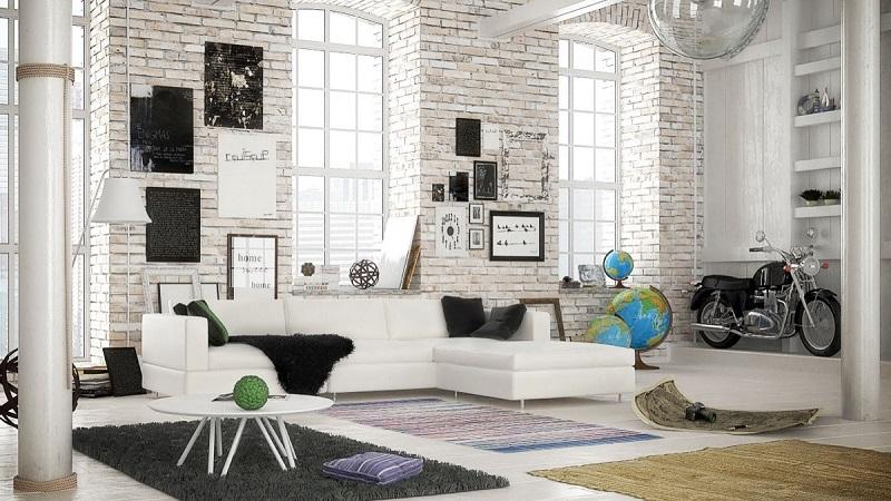 Applying White Brick Wall Interior Design In Living Room Get