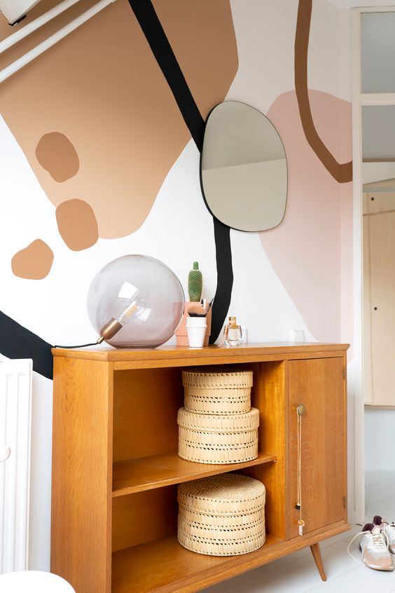 abstract mural wall in making the room look interesting and mature