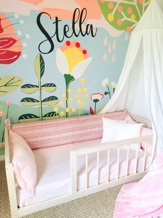 beautiful kid bedroom with flower wall mural