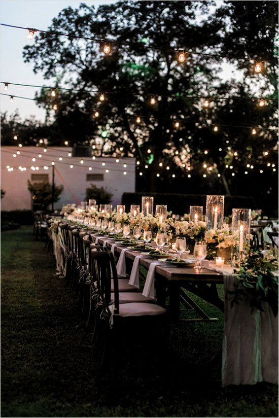 candle light dinner in a backyard