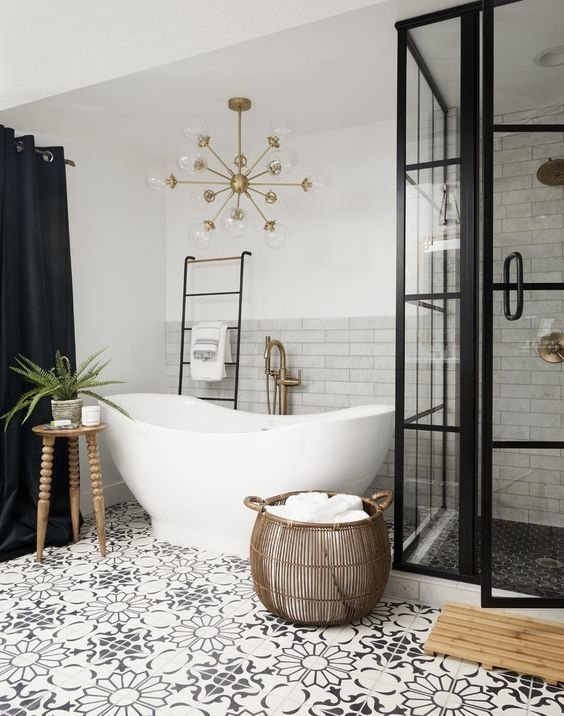 patterned floor bathroom