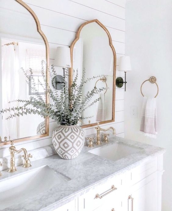 beautiful fresh bathroom with big mirror