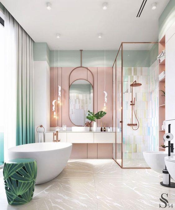 luxurious pink bathroom