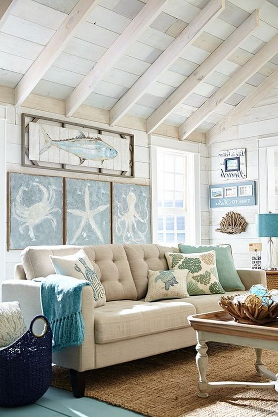 coastal living room style cottage decor