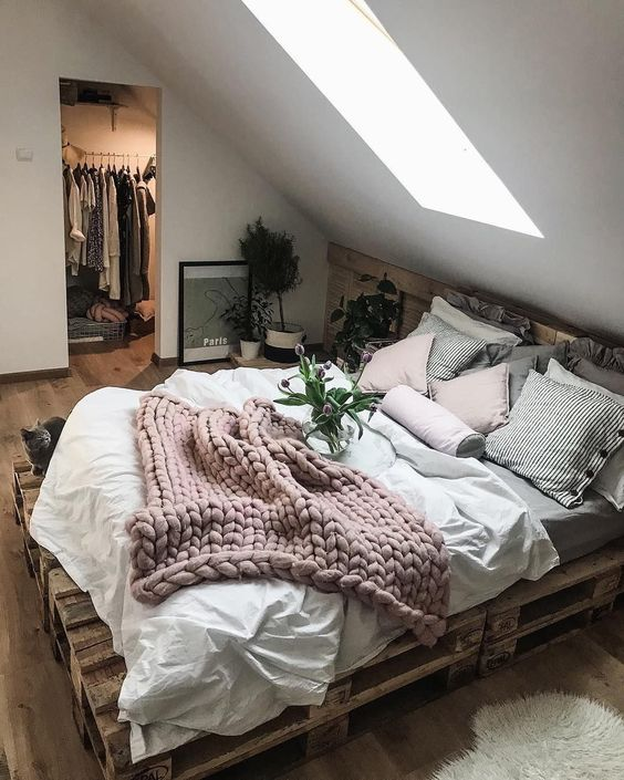 soothing bedroom with layered bedding