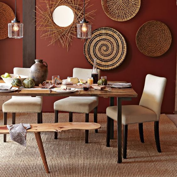 rattan plates display for dining room