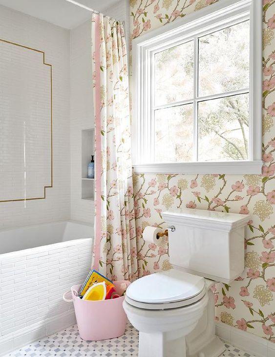 beautiful shabby chic pink bathroom