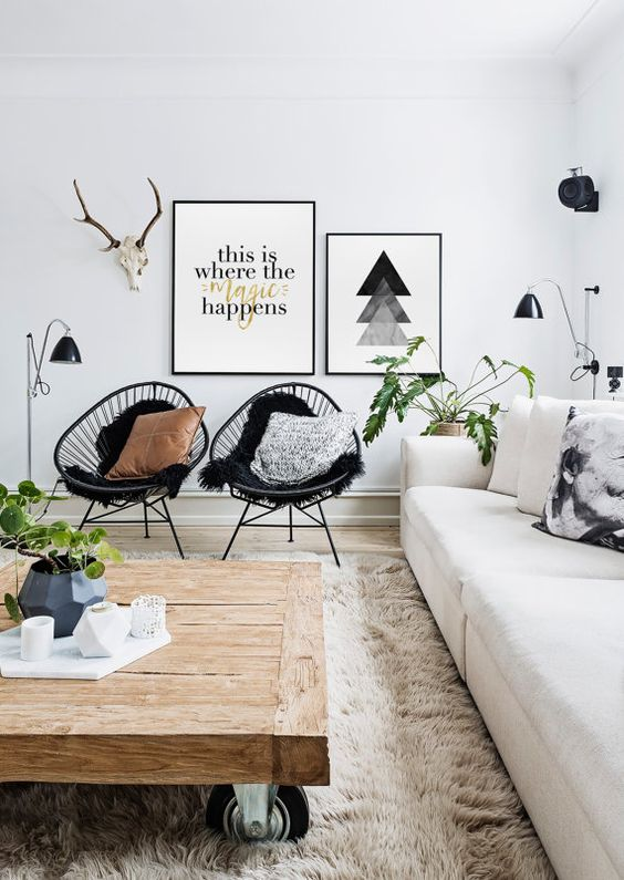 Fresh Scandinavian Room with Green Plants