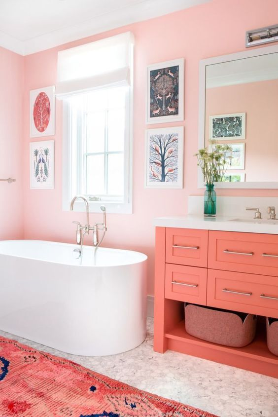 simple pink bathroom with painting decors
