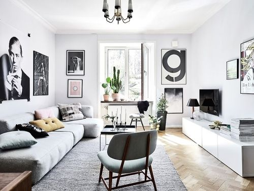 bright scandinavian small living room
