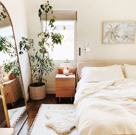 cozy small apartment with white bedding
