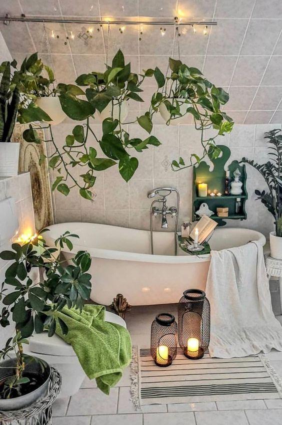 hanging plants to freshing the small bathroom