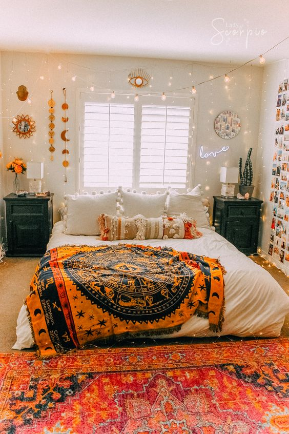 boho bedroom with tapestry decor