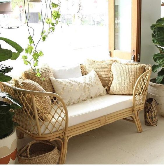 rattan couch for simple living room