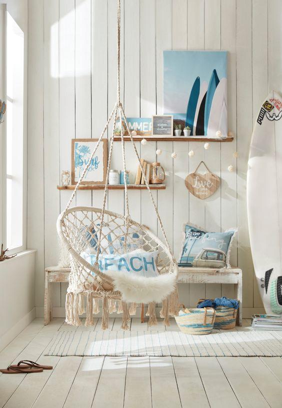blue summer bedroom