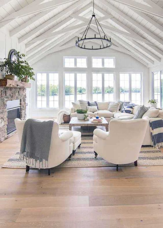 open concept coastal living room