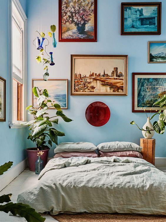 blue comfortable bedroom