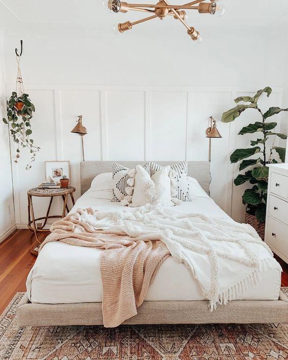 cozy bedroom with pendant lamp