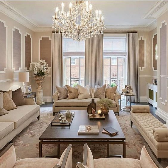elegant living room with crystal chandelier