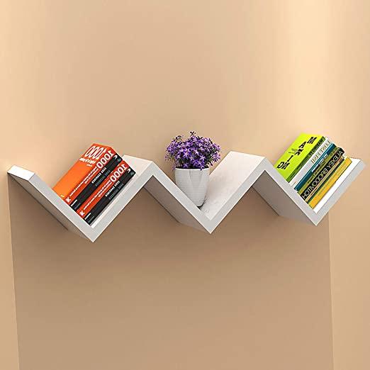 w-shaped floating wall shelf