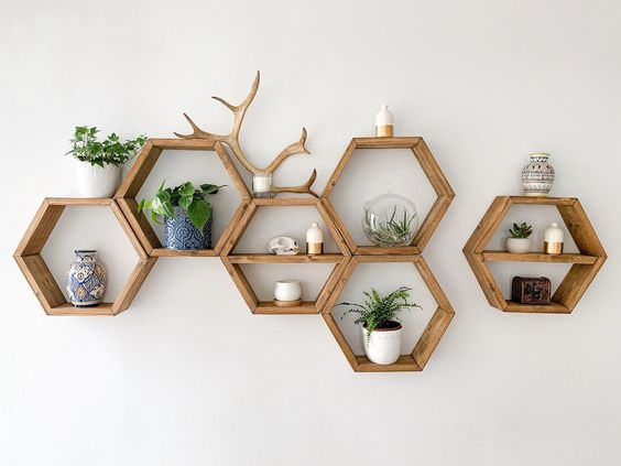 hexagon floating wall shelf
