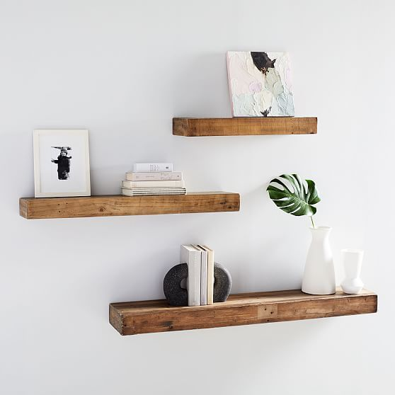 simple room decor with floating wall shelf