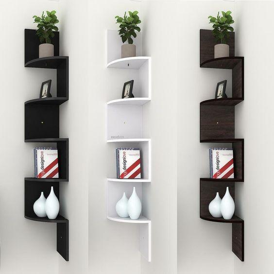 zig zag shaped floating wall shelf