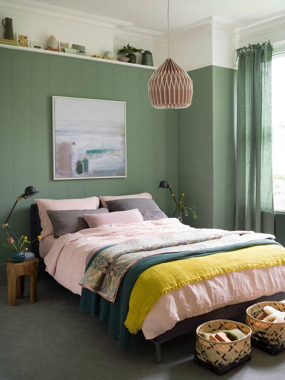 green comfortable bedroom