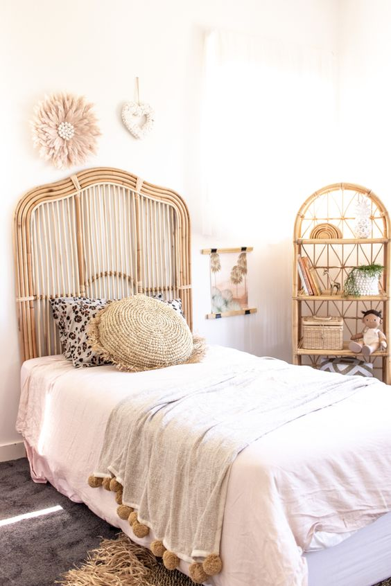 rattan headboard for simple bedroom