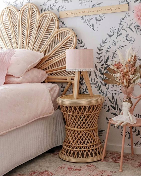 beautiful bedroom with rattan bedside table