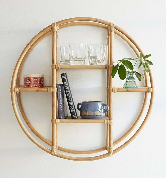 rattan floating wall shelf
