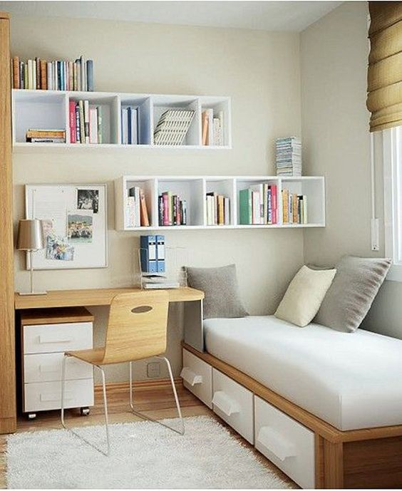 floating wall shelves for small bedroom