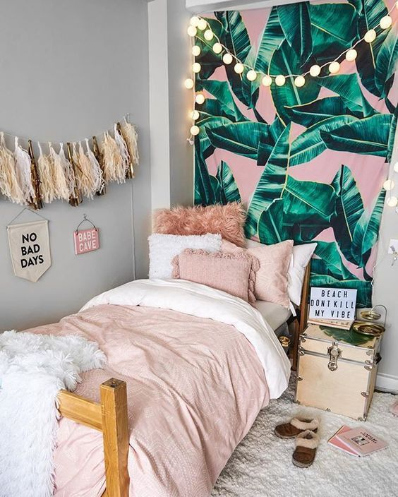 beautiful summer bedroom with mural wall