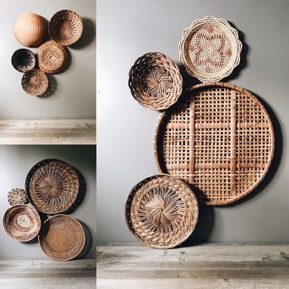 rattan wall displays